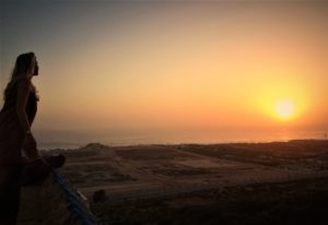 sunset from the rooftop of the surfcamp in Taghazout, Morocco