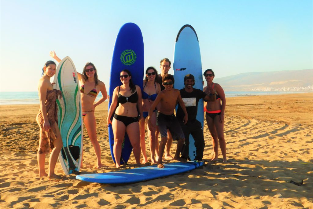 surflessons at surfcamp in Morocco