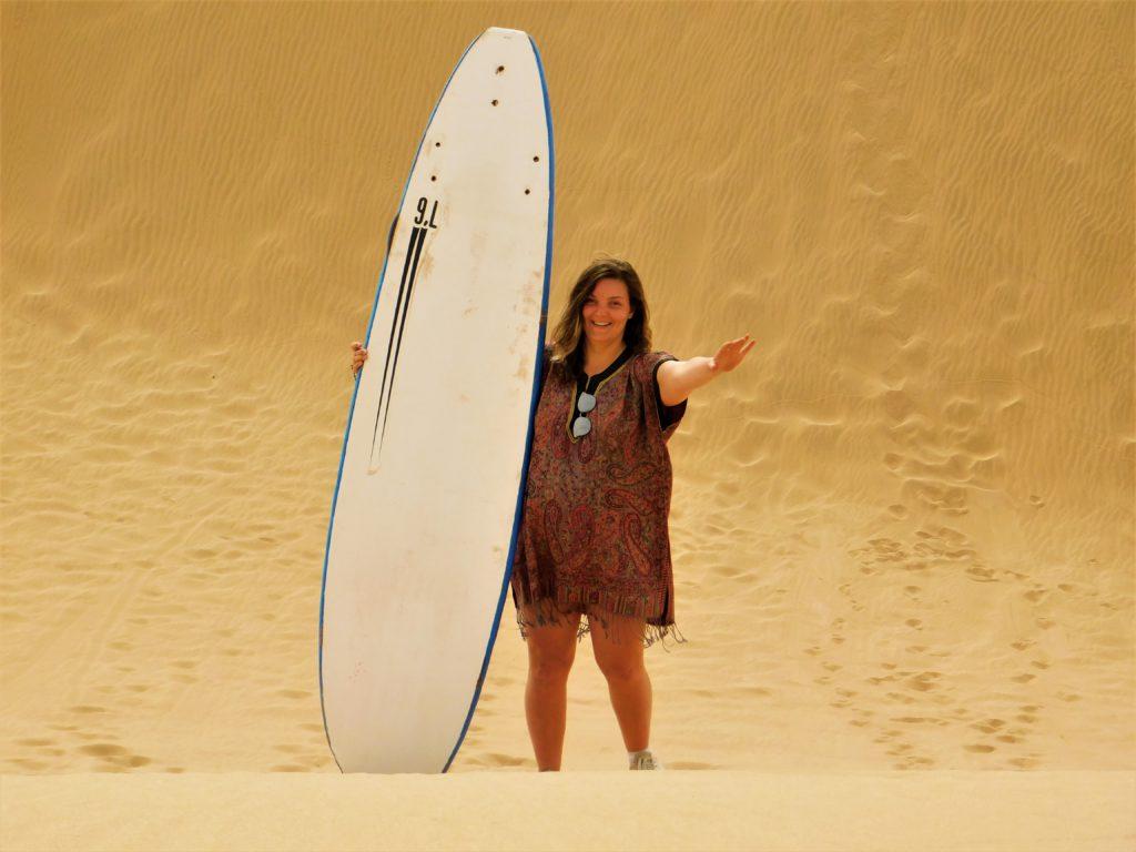 Sandboarding in the small sahara